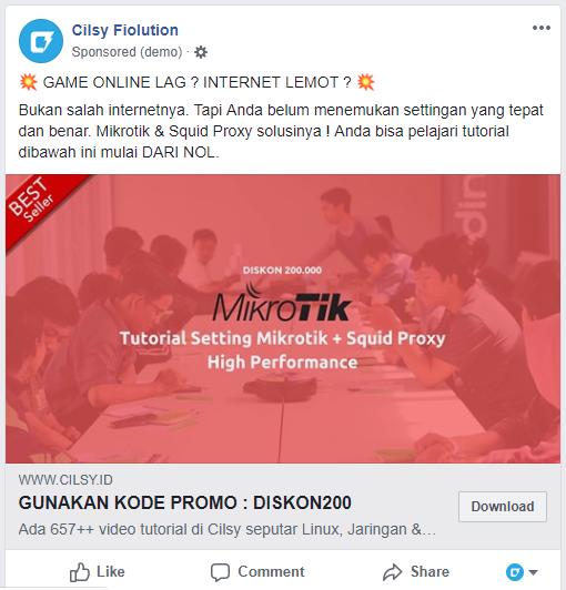 Contoh iklan Facebook