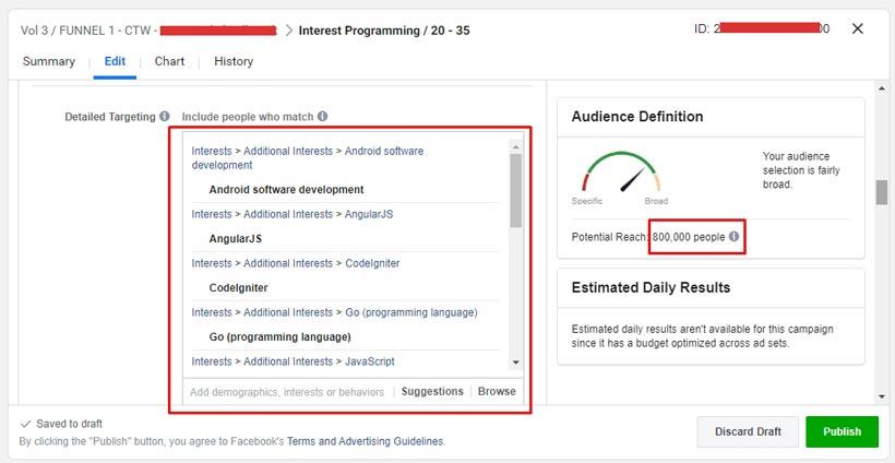 Contoh saved audience berdasarkan interest