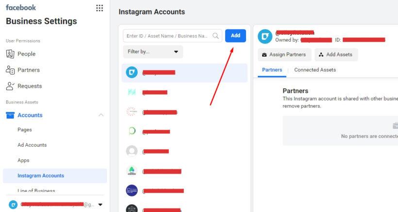 Menambahkan akun instagram ke Business Manager
