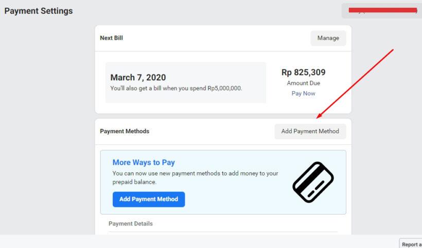 Tambahkan metode pembayaran pada akun iklan