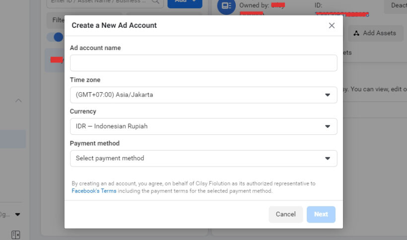 Membuat Ad Account baru