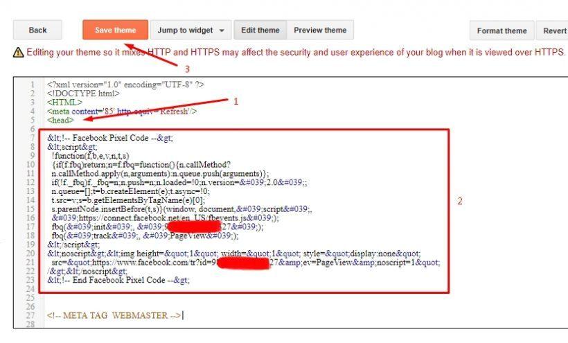 Memasang pixel Facebook di Blogger