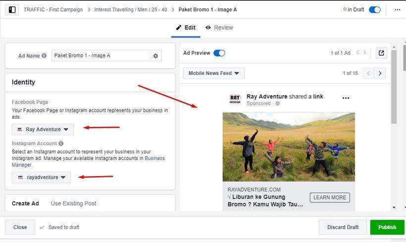 Cara beriklan di Facebook : Pengaturan Ads konten