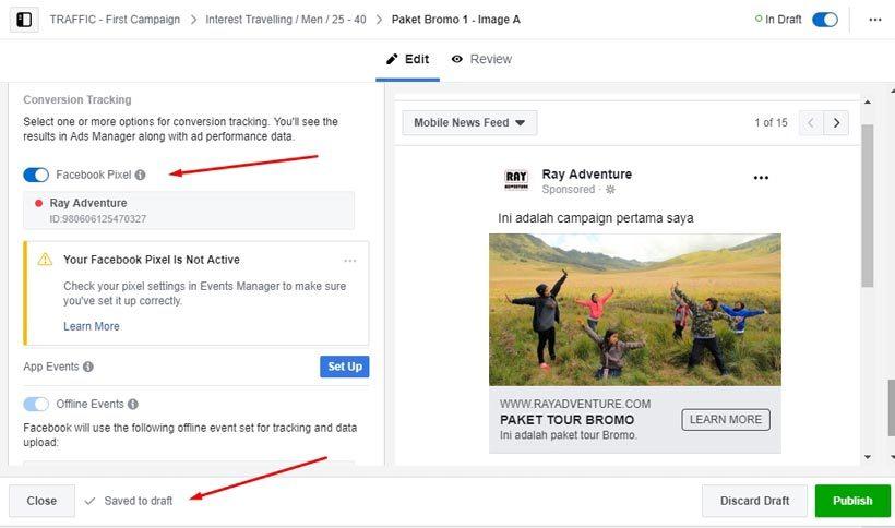 Cara beriklan di Facebook : Pengaturan konten iklan