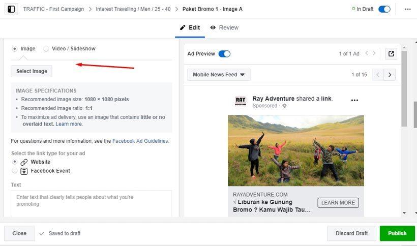 Cara beriklan di Facebook : Pengaturan gambar