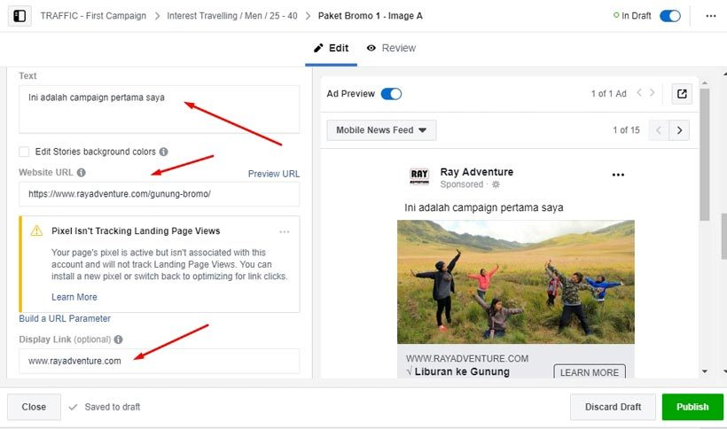 Cara beriklan di Facebook : Pengaturan tampilan iklan