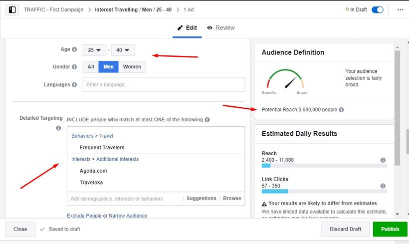 Pengaturan target audience iklan Anda